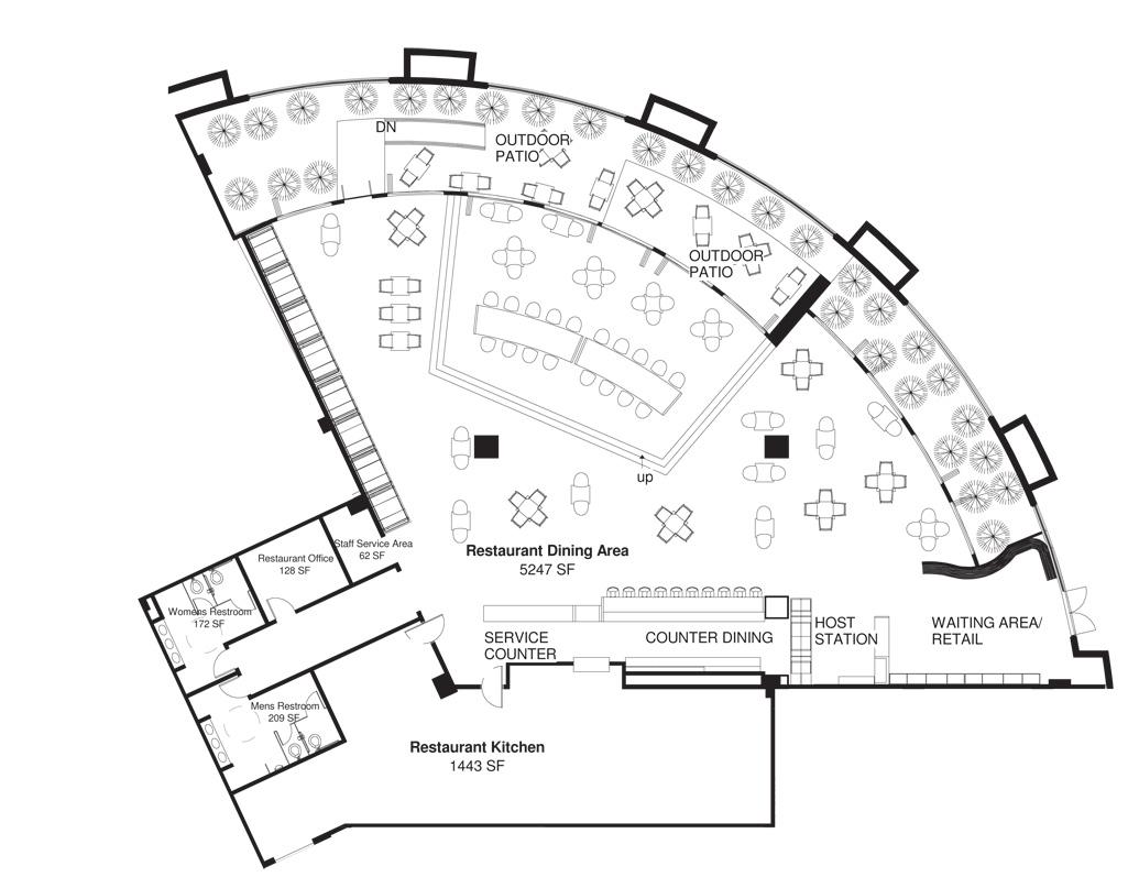 Cafe gratitude jlm designs for Cafe floor plan design