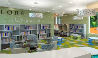 Second Floor Library with custom reading capsules