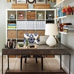 Great organization created with layering bookcases and shelving. Add baskets to hide loose items.