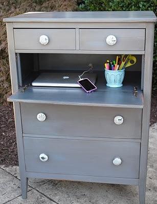 DIY desk created from dresser.