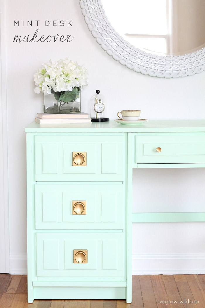 DIY desk painted with a muted mint green and new gold hardware