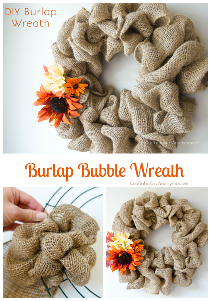 Easy Burlap Wreath tutorial by Craftaholics Anonymous