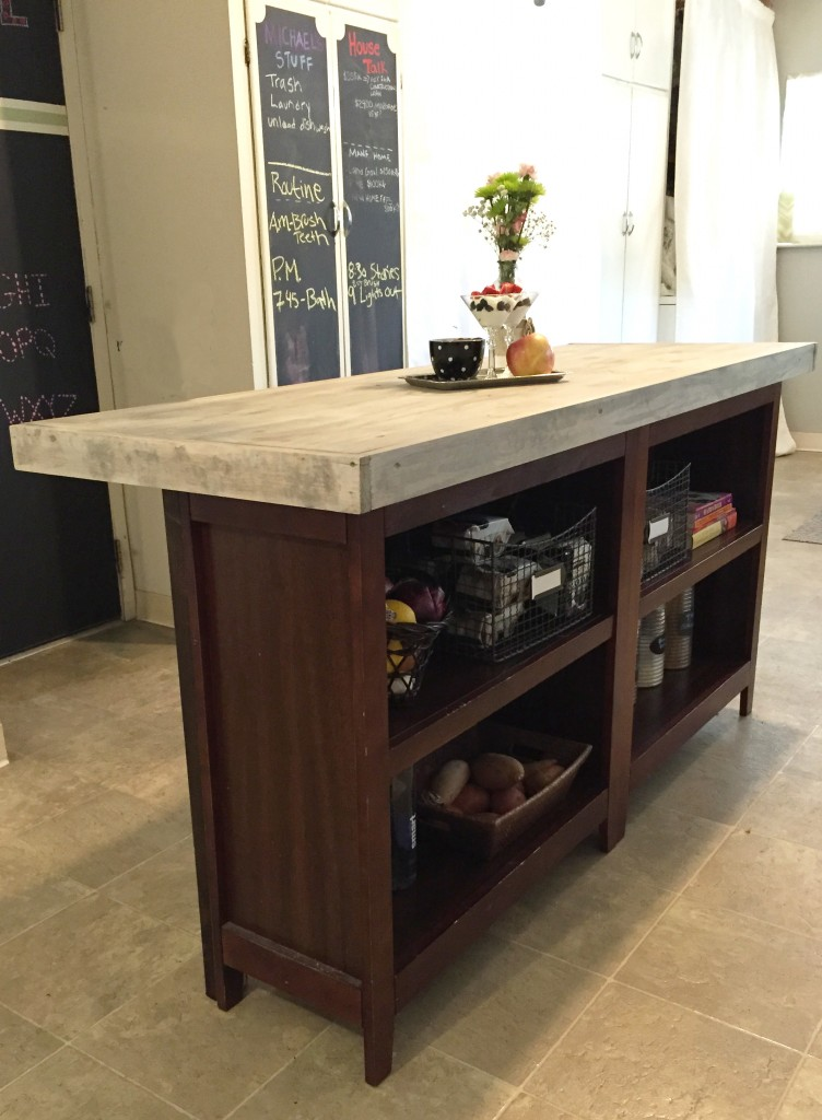 Diy kitchen island from bookcases jlm designs Kitchen island plans
