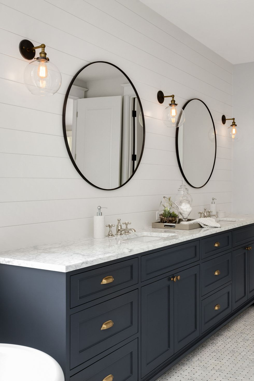 navy blue bathroom ideas  jlm designs
